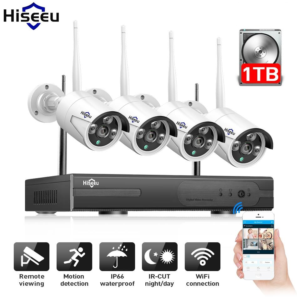 WI-FI ip-пуля Камера 1080 P 4 шт. NVR Беспроводной видеонаблюдения Системы комплект инфракрасный Cam удаленного просмотра по IP pro 1 т hdd