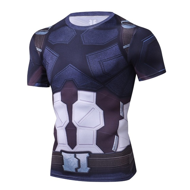 2018 Infinity War Compression Shirt Avengers Captain America 3D Printed T shirts Men Cosplay Costume Short Sleeve Tops For Male 1