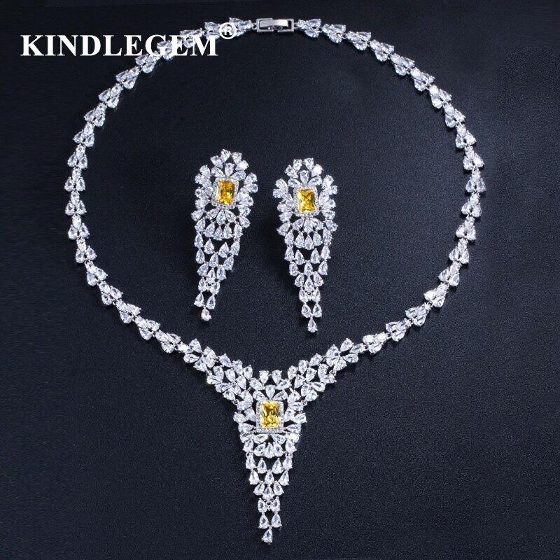 Kindlegem 2019 Luxury Bling Bling Zircon Jewelry Set Fashion Earrings Necklace European Dubai Silver Bride Engagement Innrech Market.com