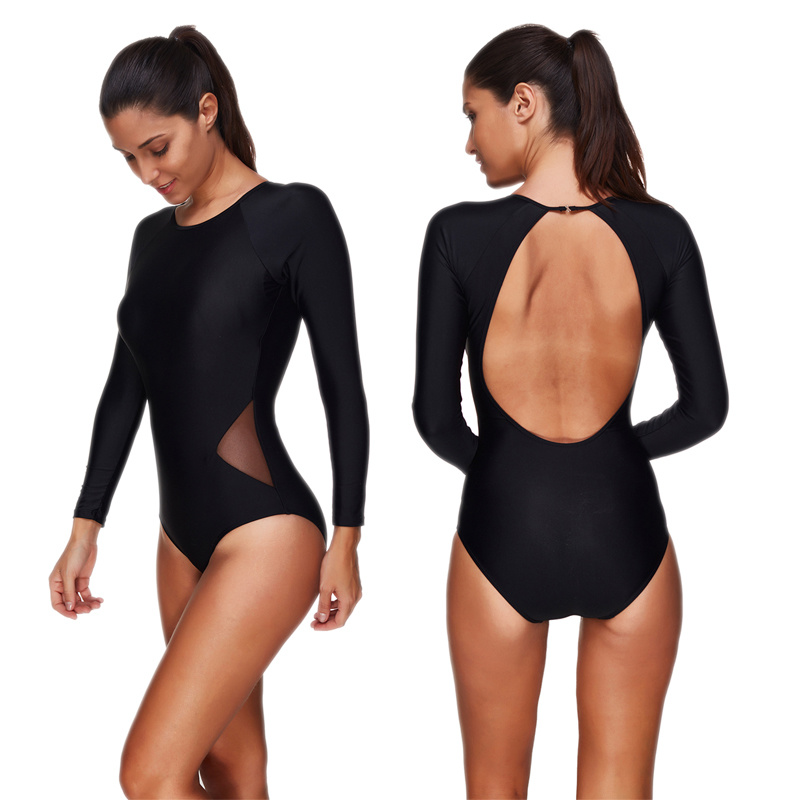 Black one piece suits Long Sleeve sexy bathing suit plus size swimwear women Backless Mesh bandage swimsuit one piece swim suit in Body Suits from Sports Entertainment