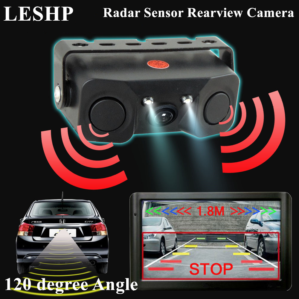 LESHP Car Rear View Camera Night Vision LED Light HD Rearview Mirror Vehicle Camera Add Radar Reverse Sensor Camera Detector keyshare dual bulb night vision led light kit for remote control drones