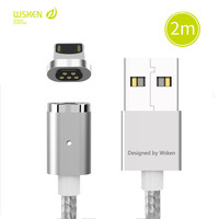 WSKEN 2M Magnetic USB Data Car Cable For Lightning Iphone Fast Charging Charger Led Cable For