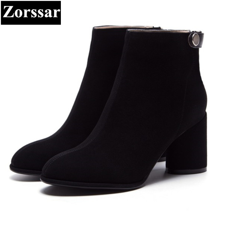 {Zorssar} 2018 NEW Fashion Women Boots Genuine Leather High heels ankle boots Suede womens Knight boots winter female shoes zorssar 2018 new fashion women shoes round toe thick heel ankle snow boots patent leather high heels womens boots winter