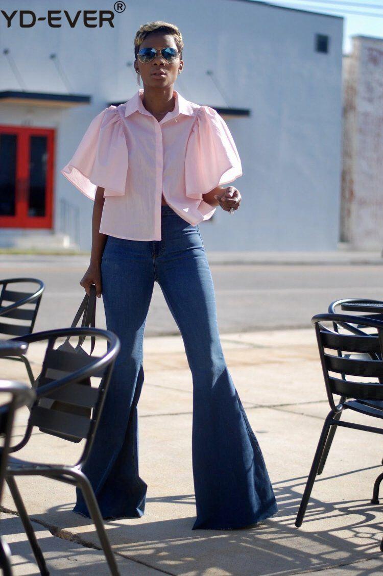 Cintura Trasero Flare Jeans Longitud xl De Pierna S Azul Ascensor Acampanada Moda Ancha Pantalón Denim Alta Sólido Completa AnwqnIEYH