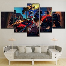 Canvas Painting 5 Panel Bastion And Robot Woman Warrior Overwatch Modern Printed Type Game Pictures Home Decorative Wall Artwork