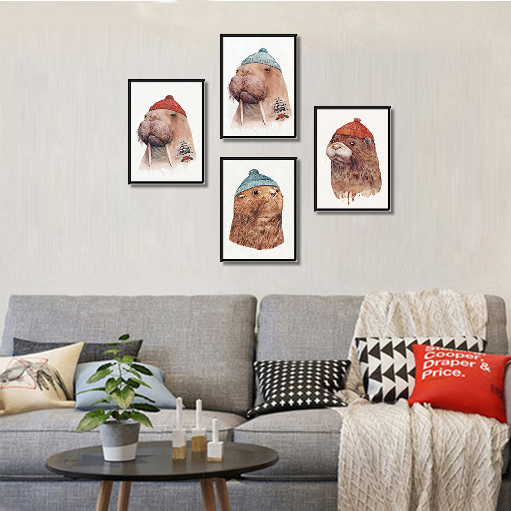Canvas Painting Cartoon Seal Wall Picture Posters And Prints Wall Pictures For Living Room Wall Art Decoration in Painting Calligraphy from Home Garden