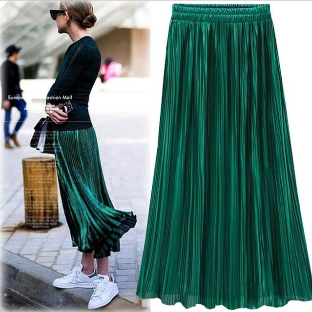 Argent Or Plissée Jupe Femmes Vintage Taille Haute Jupe 2016 Hiver Long Chaud Jupes Nouveau Mode Métallique Jupe Femelle