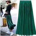 Silver Gold Velvet Pleated Skirt Womens Vintage High Waist Skirt 2016 Winter Long Warm Skirts New Fashion Metallic Skirt Female