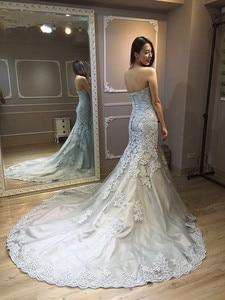 Image 5 - Vinca ensolarado modesto 2019 real foto cinza branco vestidos de casamento sereia querida corpete rendas acima volta nupcial vestido feito sob encomenda