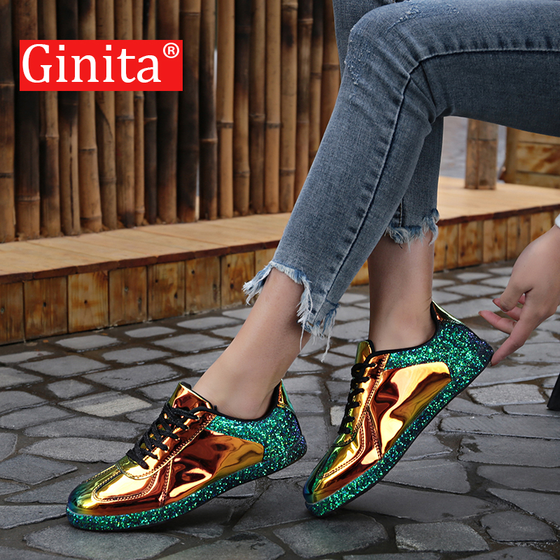 Ginita Women Sneakers Gold Glitter Spring Autumn Shinny Bling Fashion Casual Shoes Outdoor Glossy PU Leather Sneaker Shoes Woman(China)