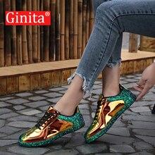 Ginita 女性スニーカーゴールドグリッター春秋シニファッションカジュアルシューズ屋外光沢のある Pu レザースニーカーの靴女性
