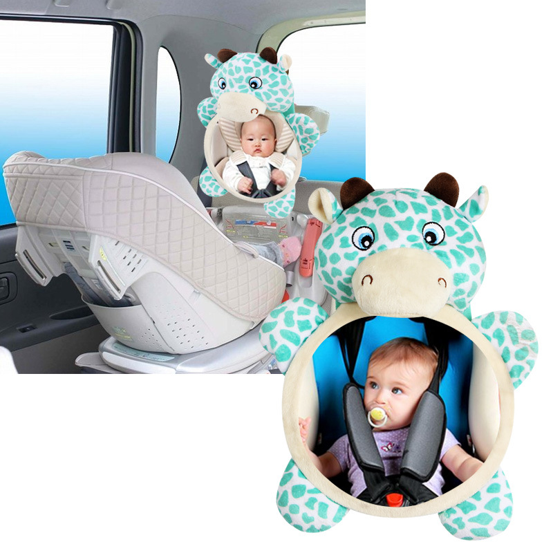 Safety seat rearview mirror reflective plush toy style calf modeling French bulldog and child training dog bell toy development