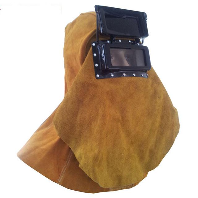 Solda máscara com óculos de proteção tampa de segurança de couro de vaca tamanho livre vestuário de segurança de alta qualidade para soldadores grande tamanho 110301