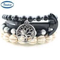 Life Tree Charm Bracelets Onyx Stones Black Real Leather Anchor Hope Bracelets Bangles Handmade Statement Jewelry