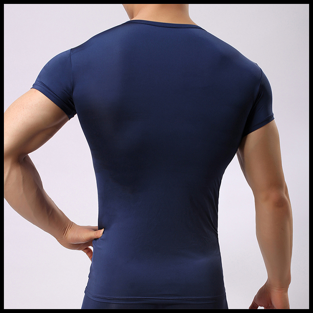 Man Underwear/Gay Mesh Ice Silk Sheer Undershirts/Male Sexy Navy blue Fitness T Shirts