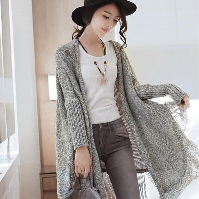 c4764d79f8 Winter Baggy Sweater Boho Women Batwing Sleeve Fringe Tassel Chunky  Knitting Sweater Cape Oversized Cardigan Poncho