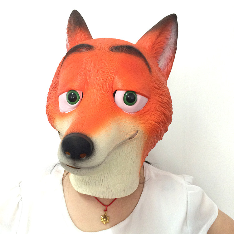 Halloween Madness Animal City Zootopia Judi Mask Cartoon Nick Fox Mask Cap Party Toys Movie Theme Props Supply