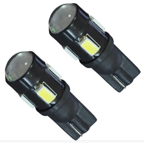 100x 12V Car led T10 W5W 6 LEDS SMD 6SMD 5630 light with projector LENS 194 168 W5W width light license plate reading Lamps
