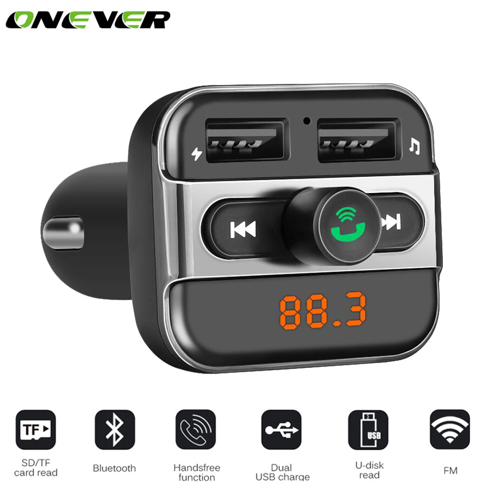 onever car mp3 music player 2 usb car charger wireless fm transmitter handsfree call bluetooth. Black Bedroom Furniture Sets. Home Design Ideas