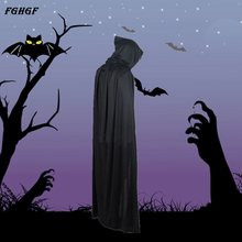 FGHGF New Halloween Costume Cosplay Devil Long Tippet Cape Cloak Black Theater Prop Death Hoody 2017 Fashion(China)