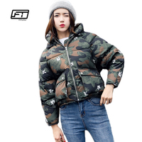 Fitaylor Winter Women Padded Coats Short Cute Cotton Down Parkas Camouflage Wadded Jacket Loose Casual Warm