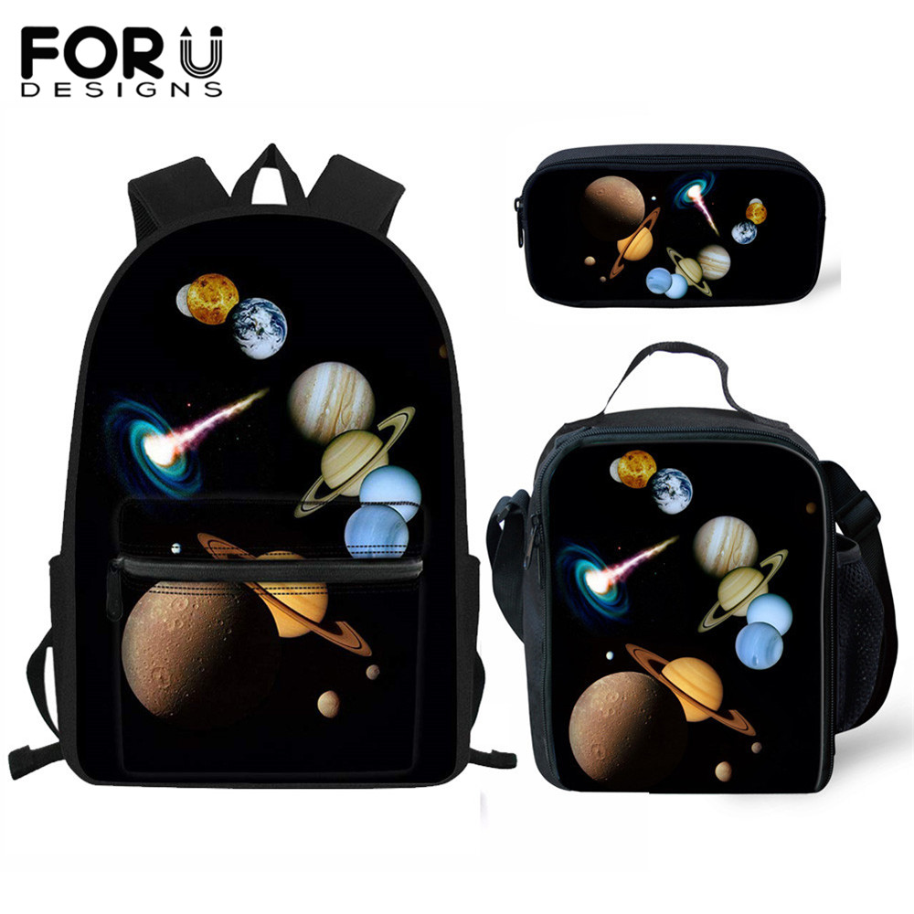 FORUDESIGNS 3Set School Bags For Boys Girls Starry Night Print Women Fashion Backpack Schoolbag Large Children Student Book Bag