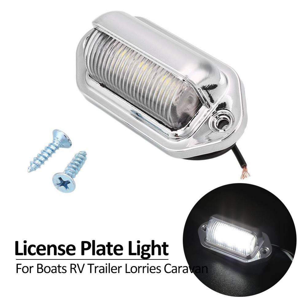 6LEDs Silver DC 12V Truck Number License Plate Light Tail Lamp Step Lamp Tag Light For Boat RV Truck Trailer Lorries Caravan