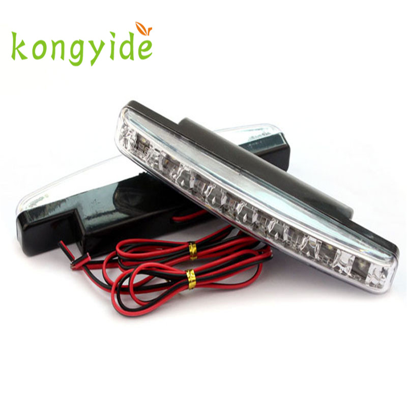 8LED Daytime Driving Running Light DRL Car Fog Lamp Waterproof White DC 12V Luz Ligero quality NEW HOT 17augu8 2017 2pcs 30cm led white car flexible drl daytime running strip light soft tube lamp luz ligero new hot drop shipping oct10