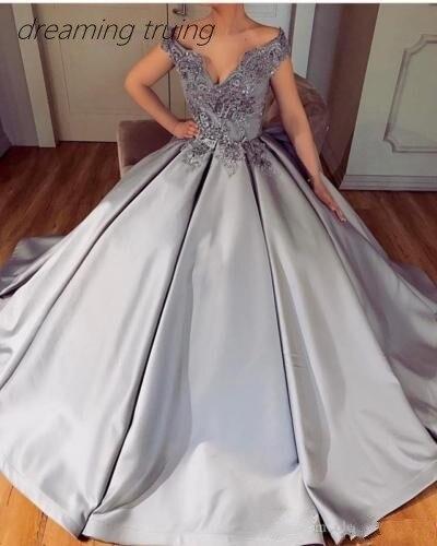 Элегантные серебряные Длинные женские вечерние платья вечернее платье с коротким рукавом Бисероплетение Кружева Аппликации провечерние М