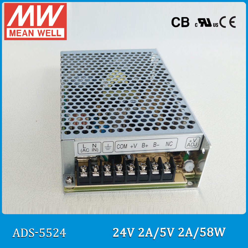 Original Meanwell Power Supply ADS-5524 55W single output DC 24V 2A with 5V 4A DC/DC converter meanwell 24v 60w ul certificated clg series ip67 waterproof power supply 90 295vac to 24v dc