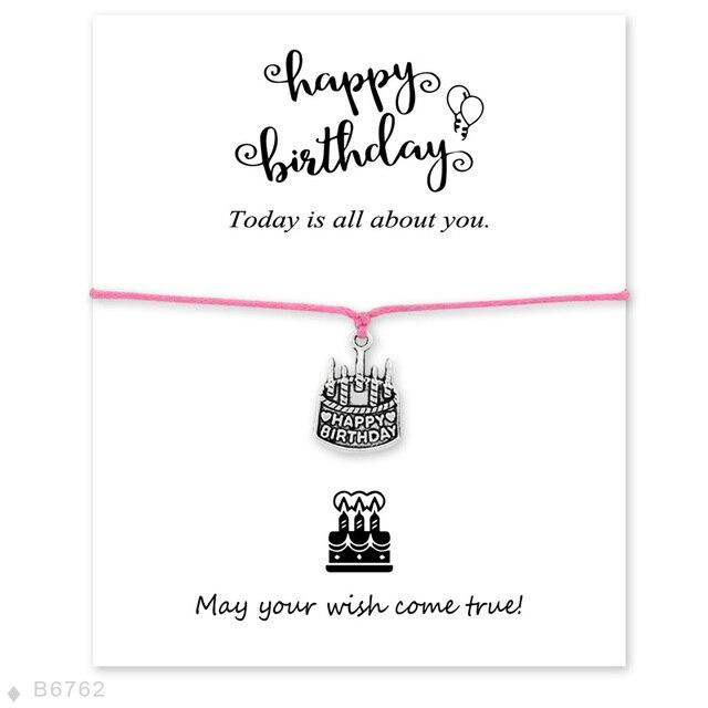 Happy Birthday Karte Für Frauen.Us 1 77 Benutzerdefinierte Happy Birthday Kuchen Charme Armbänder Für Frauen Einstellbare Freundschaft Geschenke Armbänder Erklärung Schmuck Mit
