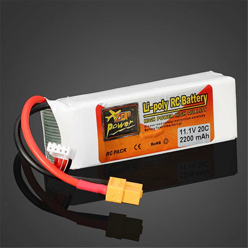 High Quality Rechargeable Lipo Battery ZOP Power 11.1V 2200MAH 3S 20C Lipo Battery XT60 Plug