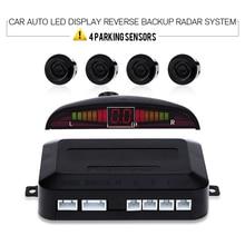 Auto Car LED Display Radar de Reserva Reverso Sistema de Sonido de Zumbido de Alerta con 4 Sensores de Aparcamiento