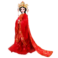 Classical 1/3 Full Silicone Vinyl Bjd Dolls Bride Makeup 23 Joint Flexible Real Doll Model Red Style For Marry Gifts DIY Toys
