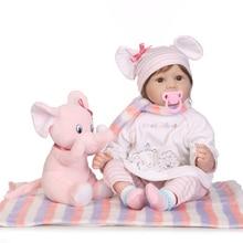55cm NPK Handmade Realistic Baby Doll Open Eyes Pig Ear Pattern Silicone Reborn Dolls PInk Toys Kids Birthday Gifts
