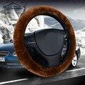 De alta densidad espesada volante de piel cubierta de coche universal/o shi car nueva caliente suave de la felpa de invierno volante cubierta