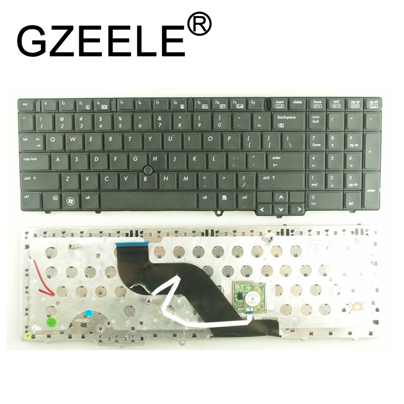 GZEELE US laptop <font><b>keyboard</b></font> FOR <font><b>HP</b></font> EliteBook <font><b>8540p</b></font> 8540w US <font><b>keyboard</b></font> With Mouse Point Sticker black image