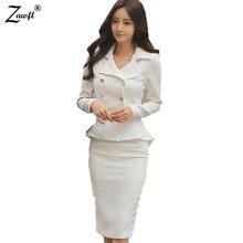 275c5badc551 ZAWFL 2 Pezzo set Gonna Donne Abiti Donna di Affari Suits Uniform Ufficio Designs  Donne Lavoro Elegante giacca + Gonna Feminino