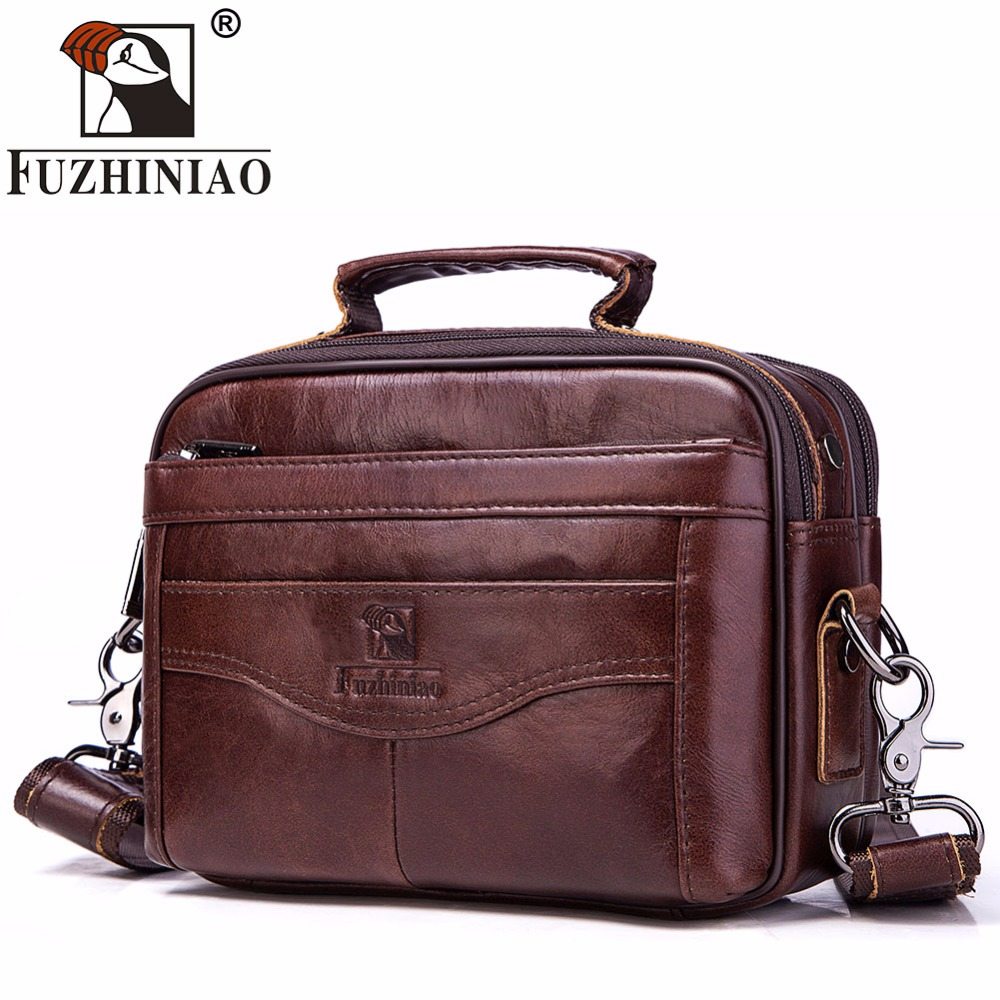FUZHINIAO Brand Genuine Leather Men Bag Fashion Business Mens Messenger Bag High Quality Mens Crossbody Bag Tote bolsas male ...