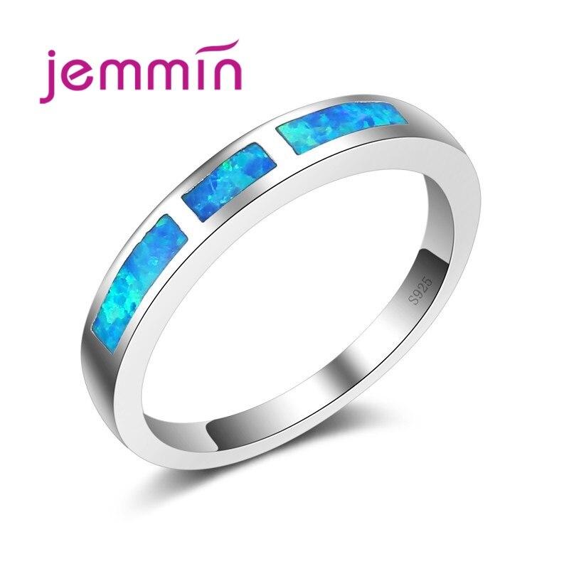 Jemmin Fine Quality Thin Blue Fire Opal Rings For Women