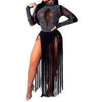 2019 Spring Modern Lady Women Dresses Sexy Club Party Going Out Elegant Sheer Sequined Layered Fringe Detail Dress