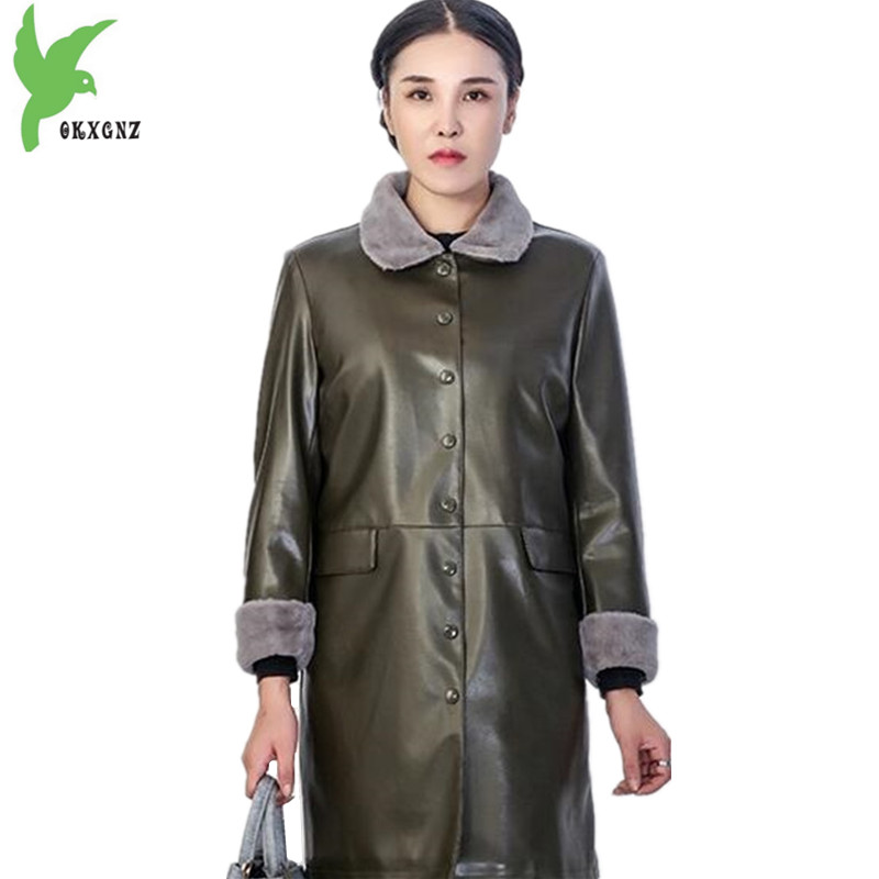 Plus size PU   Leather   Jackets Women's Autumn Winter Loose Outerwear Medium length Casual Tops Female PU   Leather   Coats OKXGNZ 1457