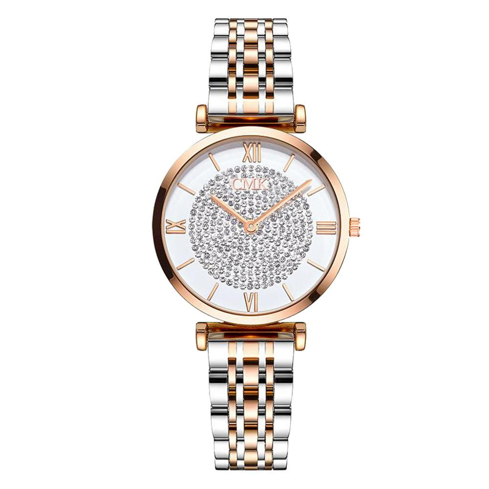 New Luxury Crystal Women Bracelet Watches 2019 Top Brand Fashion Ladies Quartz Wristwatch Full Steel Round Dial Waterproof Watch in Women 39 s Watches from Watches