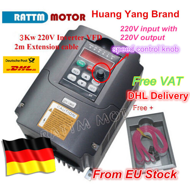 DE ship free VAT 3KW Inverters & Converters Variable Frequency Drive VFD Inverter 4HP 220V VSD speed control for CNC Router