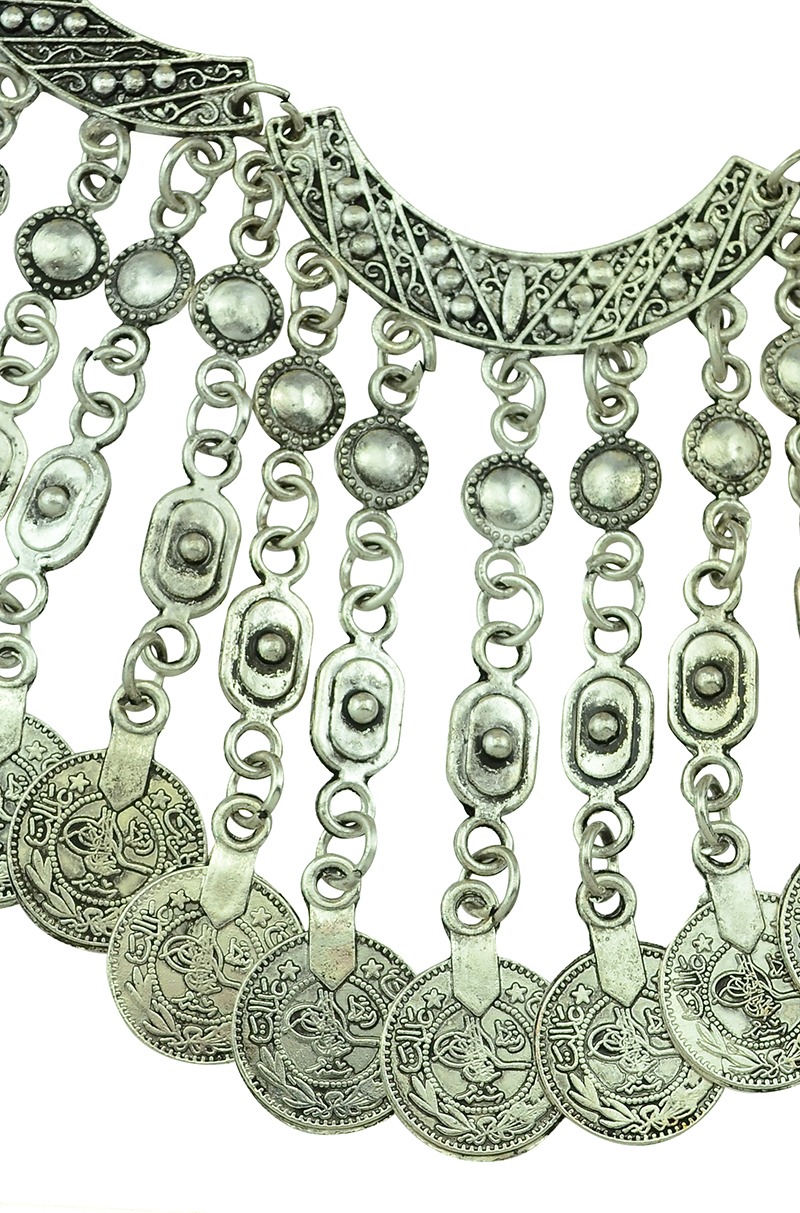 TBohemian Gypsy Love Affair Antalya Silver Coin Statement Fringe Turkish Bohemian Boho India Festival Necklace Earring Set
