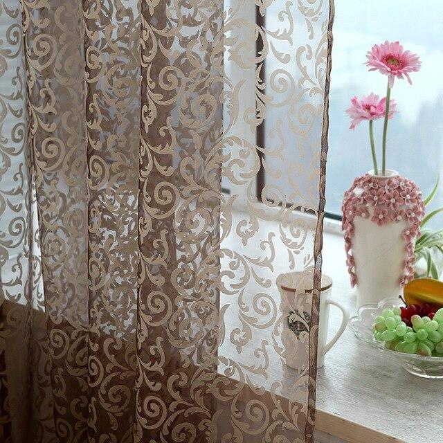 Rosso rosa Caffè giallo Pteris tende di tulle Per soggiorno fiore Sheer Voile te