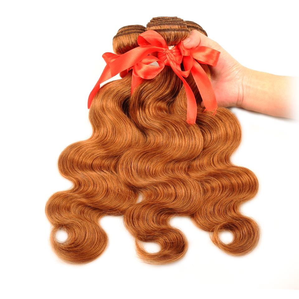 Pinshair Honey Blonde Bundles With Closure Brazilian Body Wave Bundle With Closure 30 Color Human Hair Weaves Non-Remy No Shed