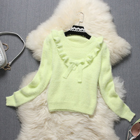 Alpha Winter New Stylish Sweater Sweet Bow Ruffles Solid Color Sweater Tops Ladies Preppy Style Youthful Look Knitting Tops