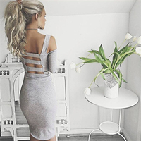 Women Sexy Club Dresses 2016 Summer Fashion Solid Gray And Black Bandage Hollow Out Sheath Dresses