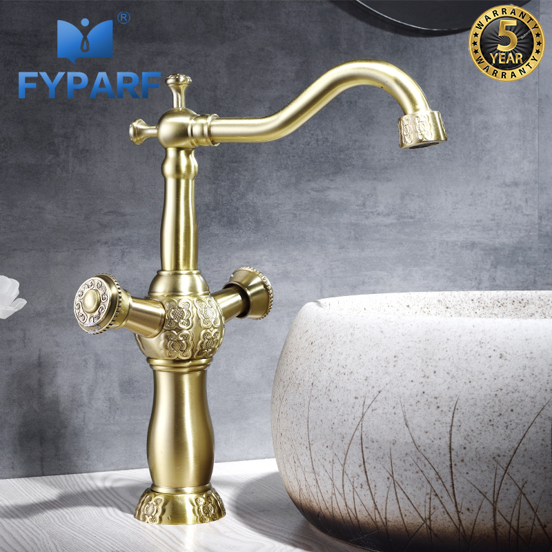 FYPARF Gold Bathroom Faucet Deck Mounted Hot and Cold Faucet for The Sink Solid Brass Water Mixer Bathroom Sink Basin Tap ChinaFYPARF Gold Bathroom Faucet Deck Mounted Hot and Cold Faucet for The Sink Solid Brass Water Mixer Bathroom Sink Basin Tap China